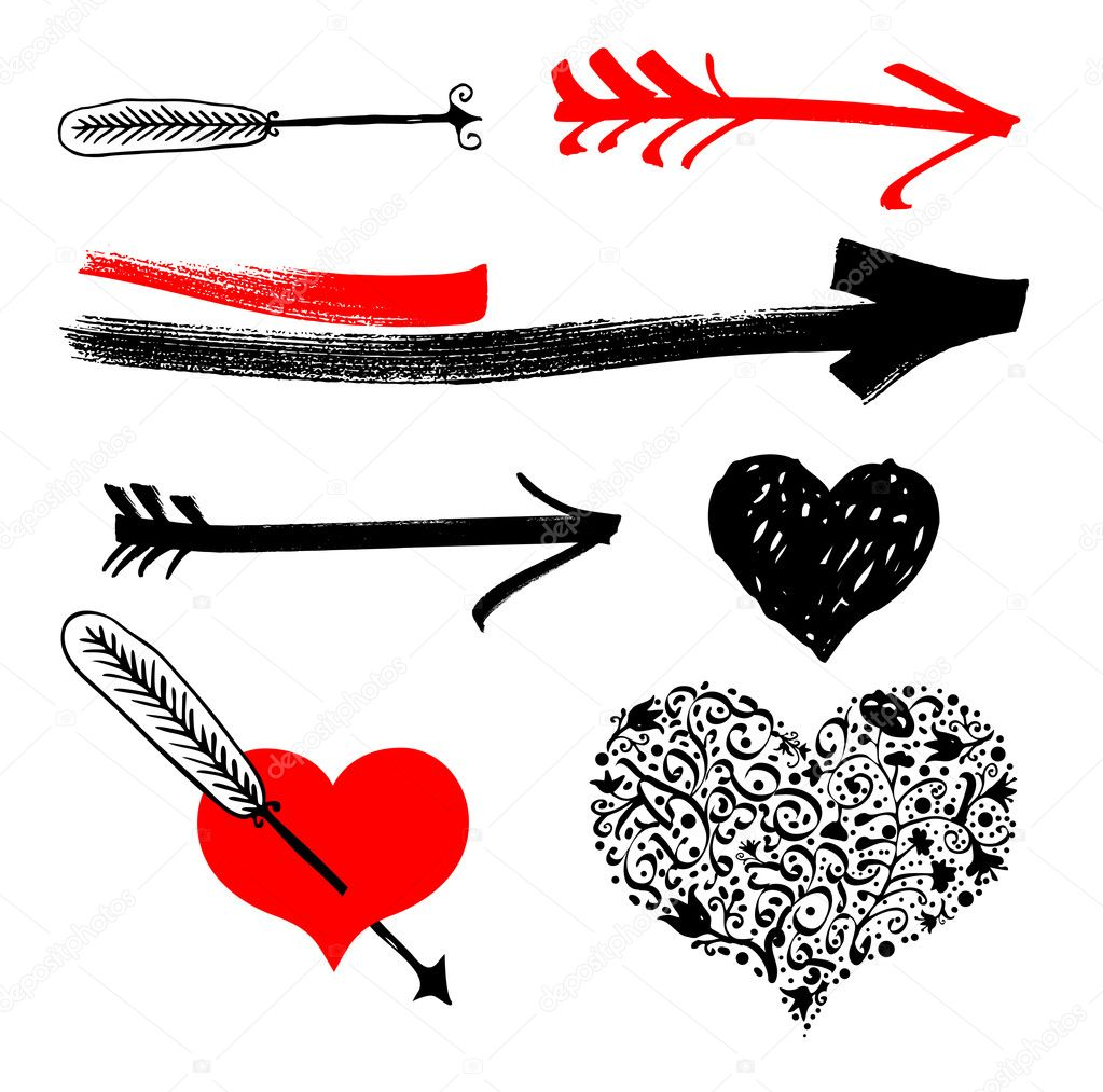 Freehand hearts and arrows design elements  Stock Vector #2102499