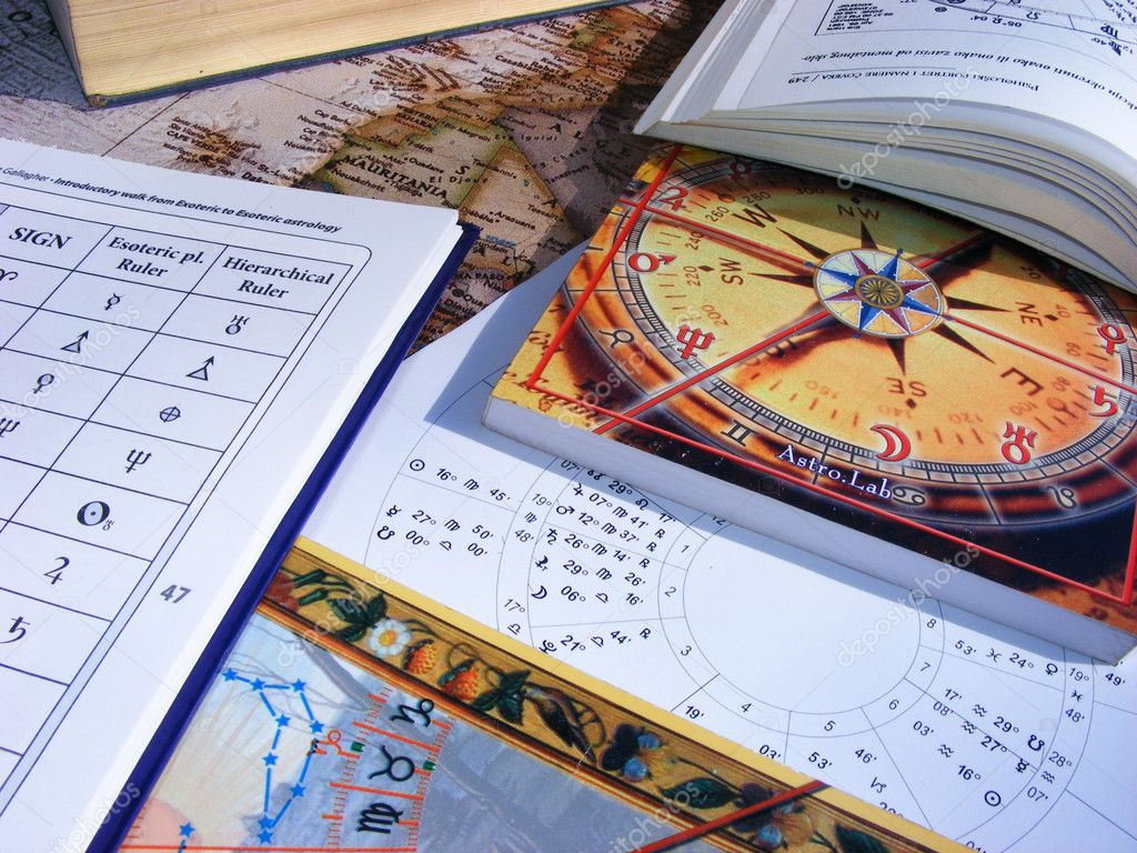 Astrology books and natal chart — Foto de Stock   #2577033