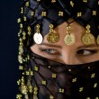 Woman in black veil — Stock Photo