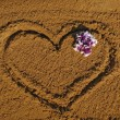 Heart on sand — Stock Photo