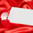 Red jewerly box with ring — Stock Photo