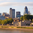 Modern London cityscape at sunset - Stockfoto