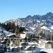 Resort in swiss alps - Stock Photo