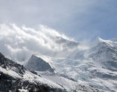 Snow storm over Eiger glacier — Stock Photo