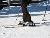 Fragments of skiing equipment — Stock Photo