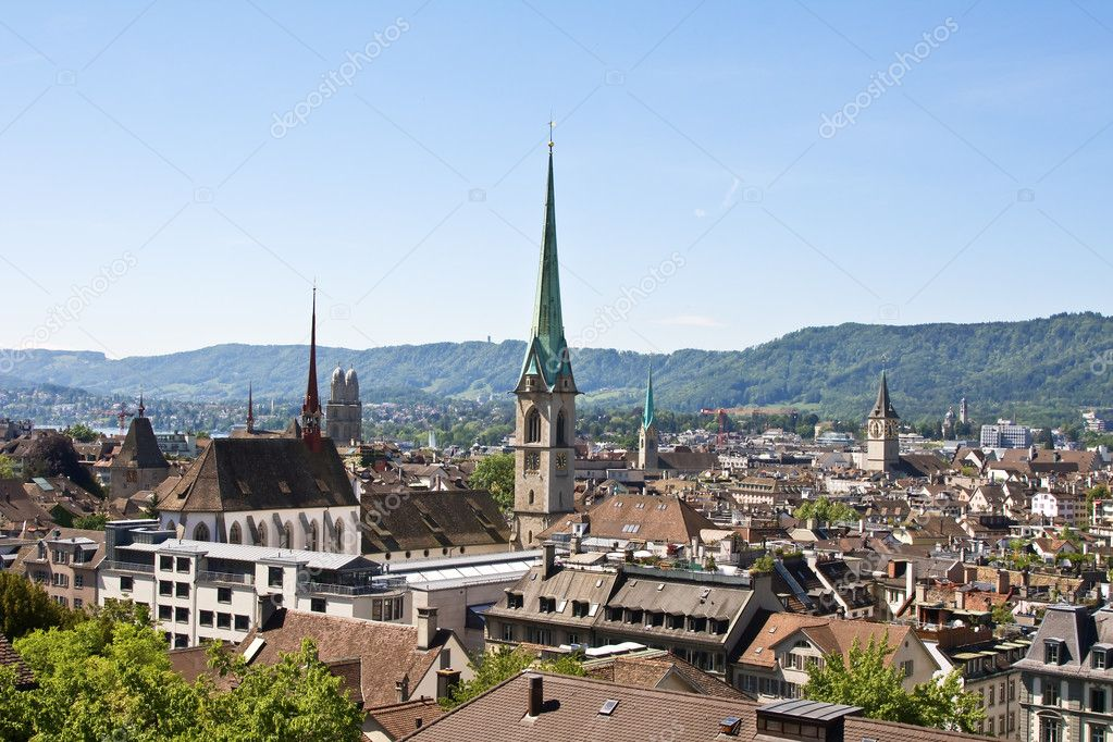 Panoramic view of the Zurich donwtown (Switzerland, 2009) — Stock Photo #1521806