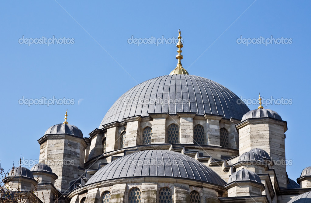 Domes of New mosque in Istanbul, Turkey — Stock Photo #1559597