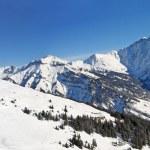 Катание на лыжах в швейцарских Альпах — Стоковое фото