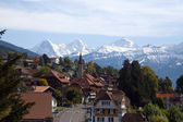 Traditional swiss village view — Stock Photo