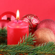Chrismas still life with red candles and — Stok fotoğraf