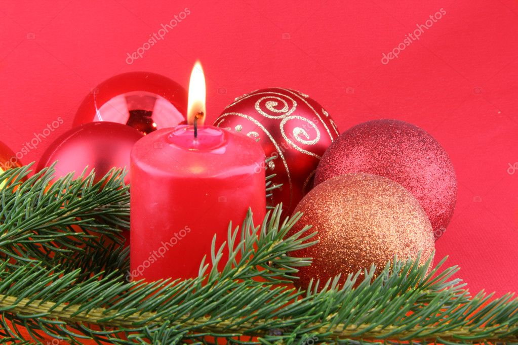 Chrismas still life with red candles and balls  Stock Photo #1516607