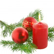 chrismas still life with red candles — Stock Photo