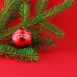 Christmas branch fur-tree with ball — Foto de Stock