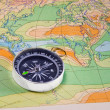 Stock Photo: Map and compass
