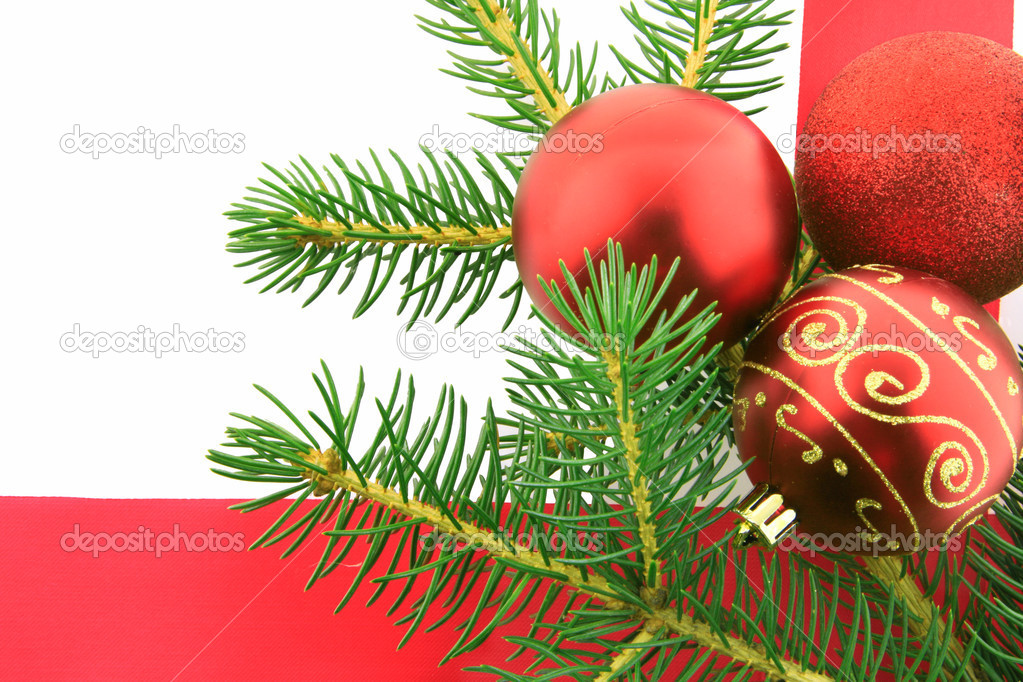 Christmas branch fur-tree with balls   Stock Photo #1532467