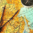 Map, compasses and compas — Stock Photo #1543432