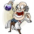 Scientist with Invention. - Stock Vector