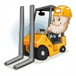 Forklift and Labor — Stock Vector