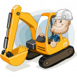Stock Vector: Excavator with Labor