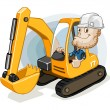 Excavator with Labor - Stock Vector
