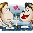 Romantic candle light dinner of lovers. — Stock Vector