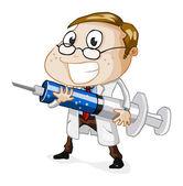 Lekarz z wtryskiwacza — Wektor stockowy