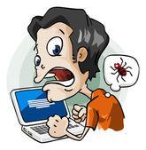 Infected by Virus. Cartoon Series — Stock Vector