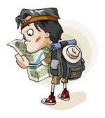 Adventurer lost in jungle — Stock Vector