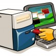 Infecting computer with flash drive — Stock Vector