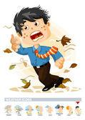 Rüzgarlı veya sonbahar. Hava durumu simgesi — Stok Vektör