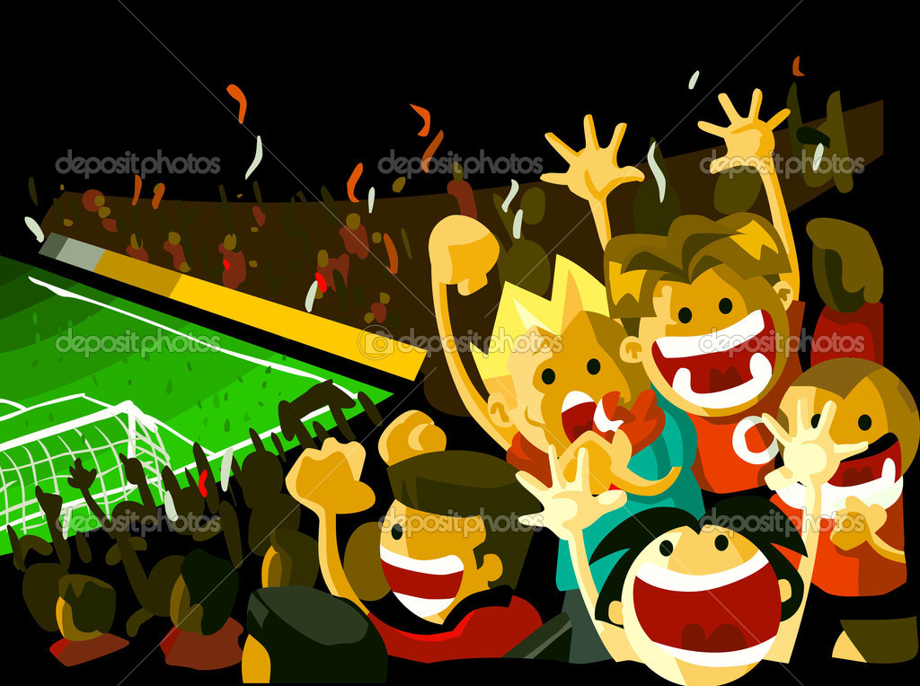 Soccer night match viewed from grandstand with crowd of . Detailed vector illustration, Copy space on top. — Stockvectorbeeld #1554677