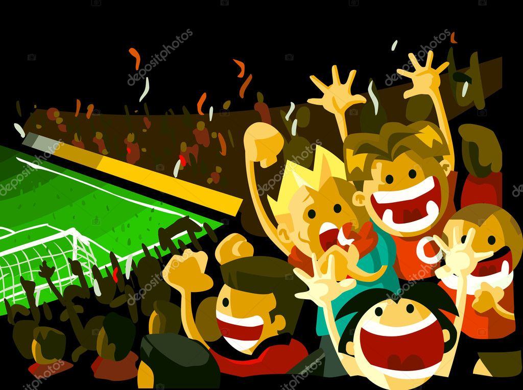 Soccer night match viewed from grandstand with crowd of . Detailed vector illustration, Copy space on top. — Stock Vector #1554677