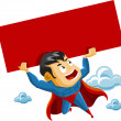 Royalty-Free Stock Vector Image: Superhero lifts Sign
