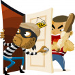 Stock Vector: Criminal Thief Activity.