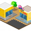 Ice Cream Shop Isometric - Stock Vector