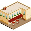 Stock Vector: Cafe Isometric