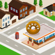 Stock Vector: Donuts Shop Isometric