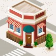 Stock Vector: Restaurant and Shop Isometric