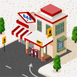 Gas Station Isometric — Stock Vector