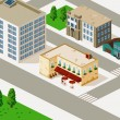 Old cafe and Building Isometric - Stock Vector