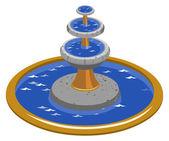 Fountain Isometric — Stock Vector