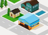 Grocery and Houses Isometric — Stock Vector