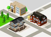 Rich House and Apartment Isometric — Stock Vector