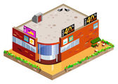 Graphic of isometric mall — Stock Vector