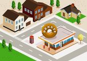 Donuts Shop Isometric — Stock Vector