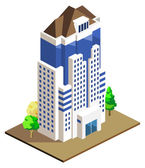 High Building Isometric — Stock Vector