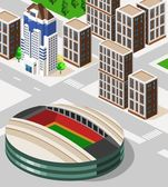 Soccer Stadium Isometric — Stock Vector