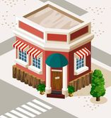 Restaurant and Shop Isometric — Stock Vector