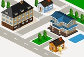 Rich House Isometric — Stock Vector