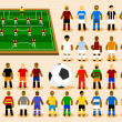 Set of Soccer Player in Formation. - Stock Vector